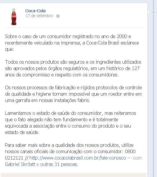 A Coca-cola responde sobre a questão do Rato